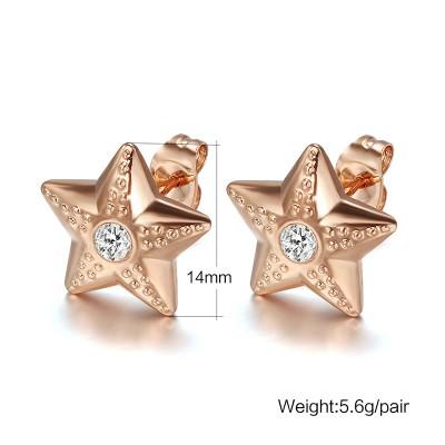 Stern Rundschnitt Weißemer Saphir RoséGelbgold 925 Sterling Silber OhrRingee