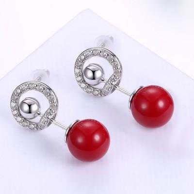 Weißemer Saphir mit roter Kugel S925 Sterling Silber OhrRingee