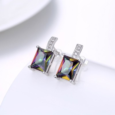 Princess Schliff Farbedel saphir S925 Sterling Silber Ohrring