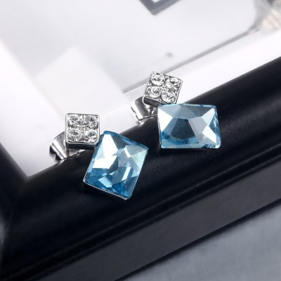 Princess Schliff Aquamarine S925 Sterling Silber Ohrring