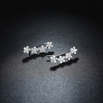 Eleganter runder Weißemer Saphir Sterling Silber Ohrring