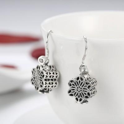 Runder Schliff aus Weißemem Saphir Sterling Silber 925 Sterling Silber Ohrring