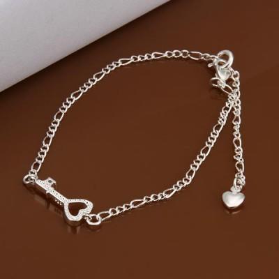Schöne Silber Schlüsselform Herz Titan Fußkettchen