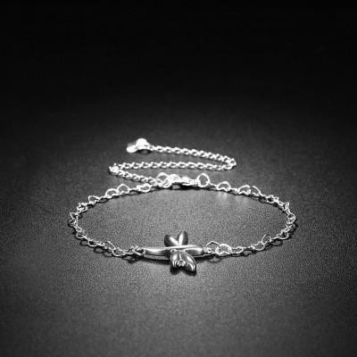 Süße Silber Libelle Shape Titan Fußkettchen