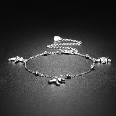 Drei Seestern Silber Titan Fußkettchen