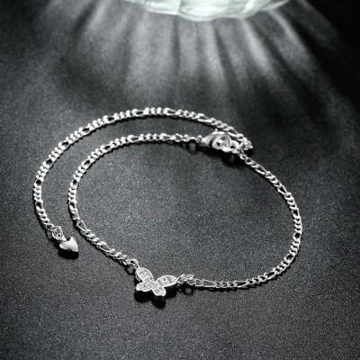 Runder Schnitt Weißemer Saphir Schmetterling Silber Titan Fußkettchen