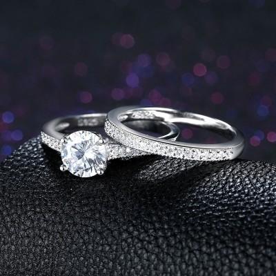 Runder Schliff aus Weißemem Saphir S925 Sterling Silber Ringe