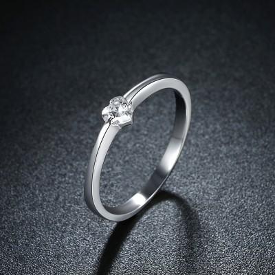 Herz geschnittener Weißemer Saphir S925 Sterling Silber Versprechen Ringe