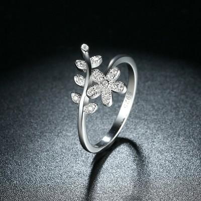 Blume runder Schnitt Weißemer Saphir S925 Sterling Silber Versprechen Ringe