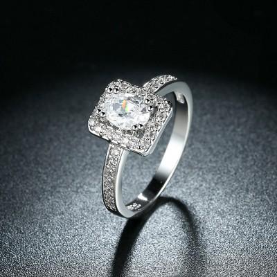Ovale Schliff Weißem Saphir S925 Sterling Silber Halo Verlobungsringe