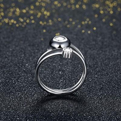 Schöner runder Weißemer Saphir S925 Sterling Silber Versprechen Ringe
