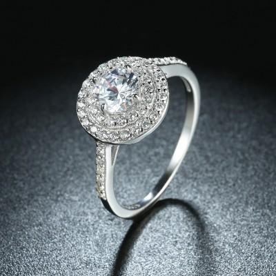 Runder Schliff aus Weißemem Saphir S925 Sterling Silber Halo Verlobungsringe