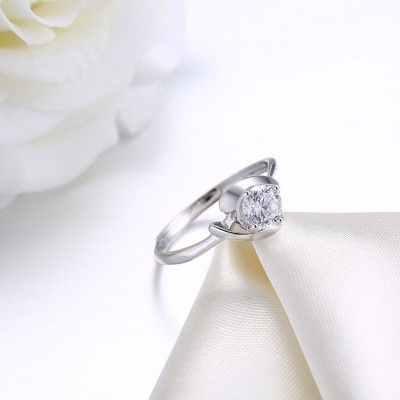 Wunderschöner runder Schliff Weißemer Saphir Sterling Silber Verlobungsringe