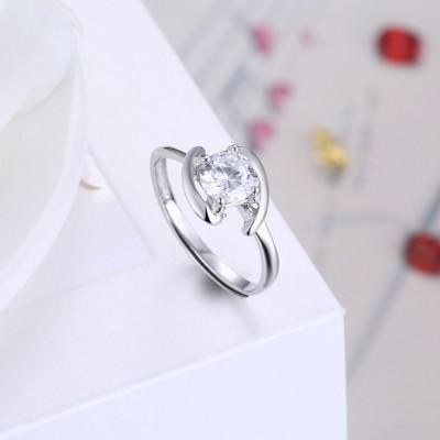 Weißemer Saphir Feiner S925 Sterling Silber Verlobungsringe