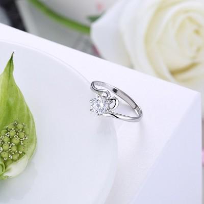 Runder Schliff aus Weißemem Saphir Nizza S925 Sterling Silber Verlobungsringe