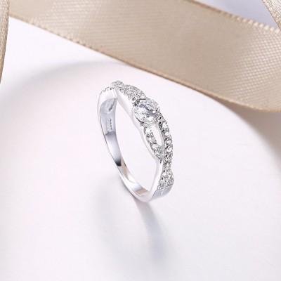 Runder Schliff aus Weißemem Saphir S925 Sterling Silber Verlobungsringe