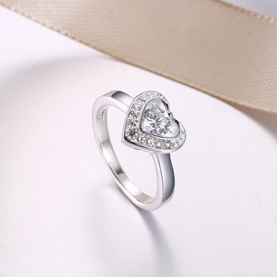 Runder Schliff aus Weißemem Saphir S925 Sterling Silber Nice Versprechen Ringe