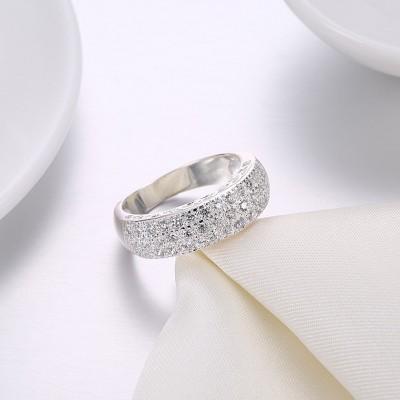 Runder Schliff aus Weißemem Saphir S925 Sterling Silber Memoire Ringe