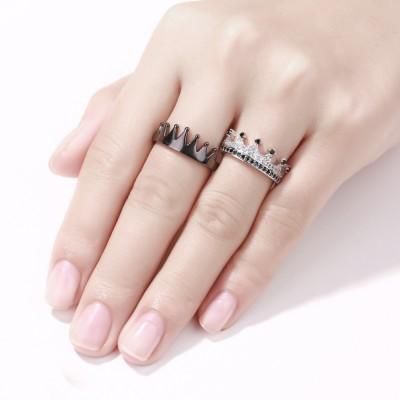 His Queen Her King 'Crown Schwarzes und Silber 925 Sterling Silber Paar Versprechen Ringe