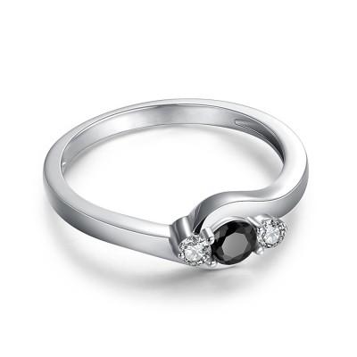 Runder Schliff 1 / 4CT Schwarzer Zirkonia Sterling Silber Verlobungsringe