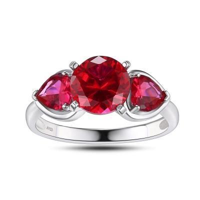 Herz Schliff Rubin 925 Sterling Silber Versprechen Ringe für Sie