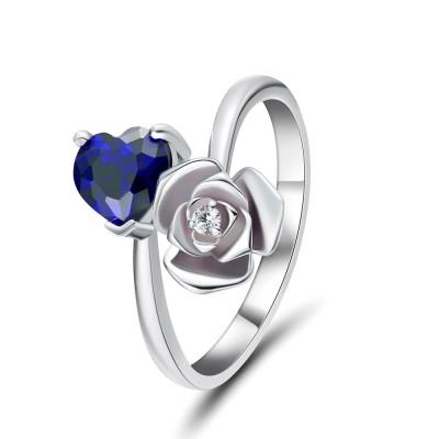 Herz Schliff Blau Saphir 925 Sterling Silber Versprechen Ringe für Sie
