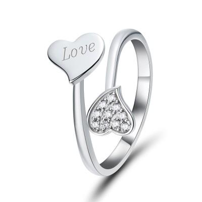 Herz Schliff Zirkonia 925 Sterling Silber Versprechen Ringe für Sie