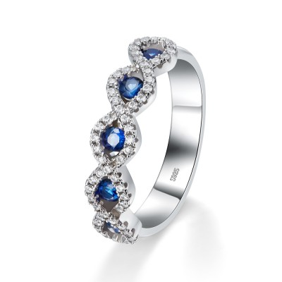 RundSchliff Saphir 925 Sterling Silber Damen Memoire Ringe