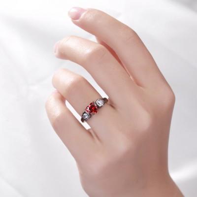 Herzschnitt Rubin Sterling Silber Verlobungsringe für Sie