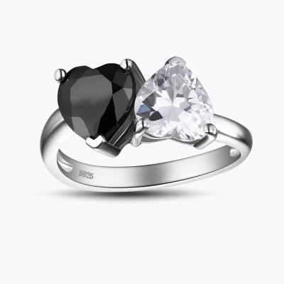 Doppeltes Herz Schwarzer und Weißemer Saphir 925 Sterling Silber Verlobungsringeb