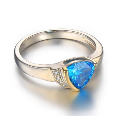 Trillion Schliff Aquamarine 925 Sterling Silber BirthZirkonia Ringe