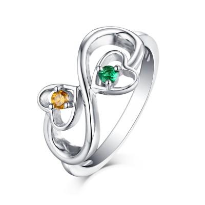 Rundschnitt Emerald & Topas S925 Sterling Silber Infinity Ringe
