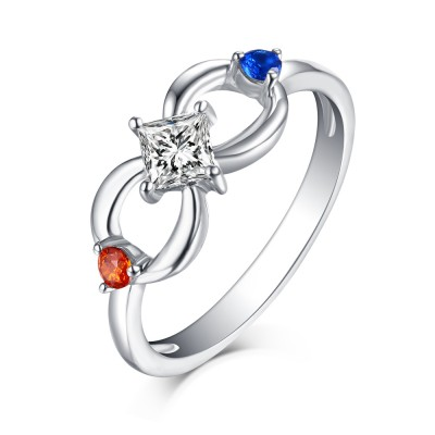 Princess Schliff Rubin & Blau Weißemer Saphir S925 Sterling Silber Infinity Ringe