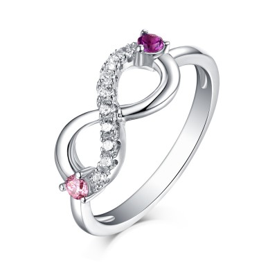 Runder Schliff Rosa & Amethyst Weißemer Saphir S925 Sterling Silber Infinity Ringe
