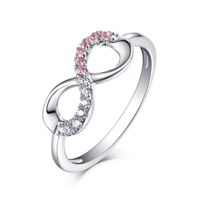 Runder Schliff Rosa & Weißem Saphir S925 Sterling Silber Infinity Ringe