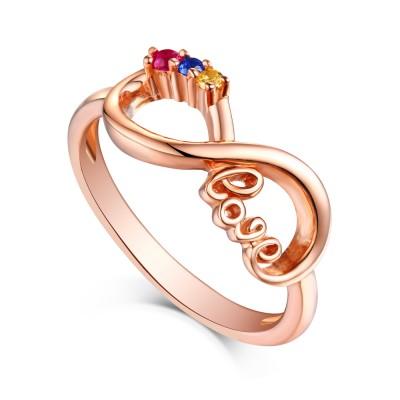 Rundschnitt Rubin & Topas Blau Saphir RoséGelbgold S925 Sterling Silber Infinity Ringe
