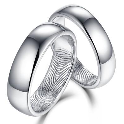 Schön strukturierter Fingerabdruck 925 Sterling Silber PartnerRingee