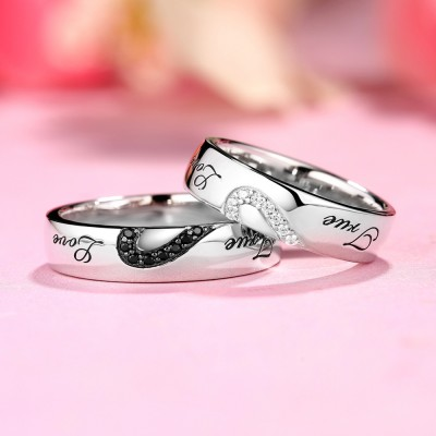 True Love Weißemer und Schwarzer Saphir S925 Sterling Silber Partnerringe