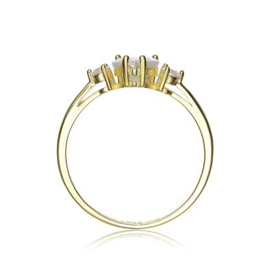 Herzschnitt 925 Sterling Silber 3-Stein Gold Versprechen Ringe für Sie