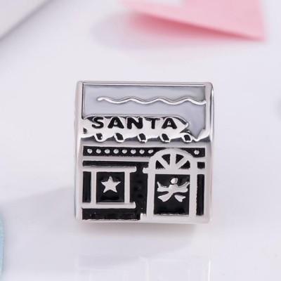 Santa House Charm Sterling Silber