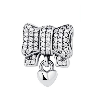 Bowknot & Herz Charm Sterling Silber