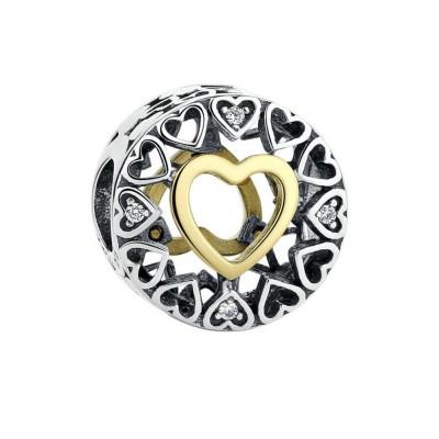 Gelbgold & Silber Herzanhänger Sterling Silber