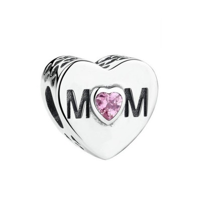 Mutter mit rosa Zirkonia Charm Sterling Silber
