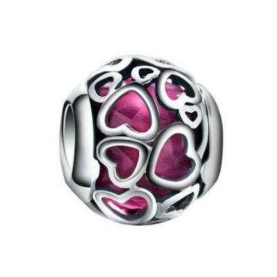 Fuchsia Hearts Charm Sterling Silber