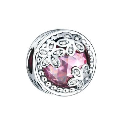 Blumen mit rosa Zirkonia Charm Sterling Silber