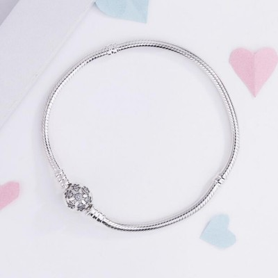 Schneeflocke Kristall Runde Form Schließe Armbänder Sterling Silber