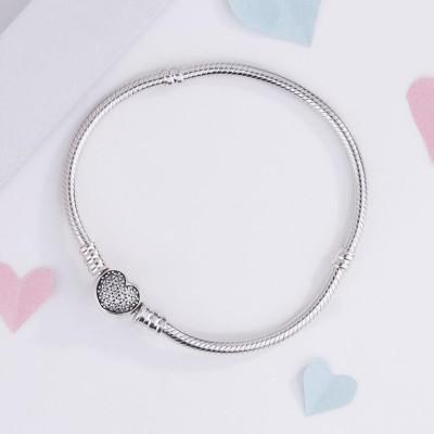 Herz Kristall Runde Form Schließe Armbänder Sterling Silber