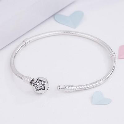 Sternkristall - Runde Schließe Armbänder Sterling Silber