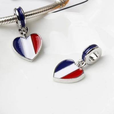 Französischer Flaggen-Anhänger Sterling Silber