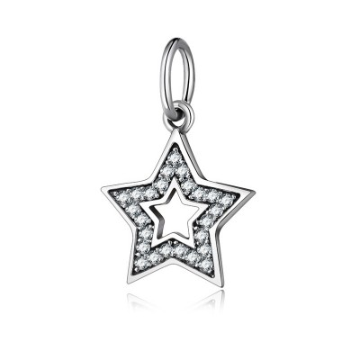 Zwei Sterne Charm Sterling Silber